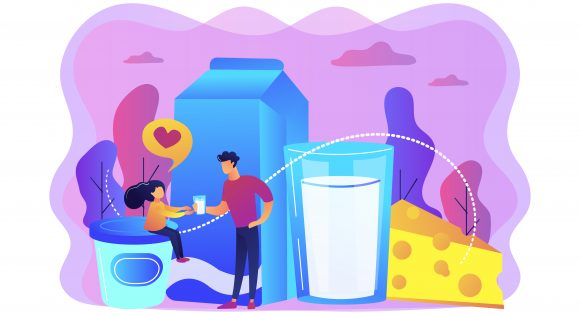 Dairy products, cheese, yoghurt and kid likes drinking milk, tiny people. Dairy products, milk based nutrition, dairy products production concept. Bright vibrant violet vector isolated illustration